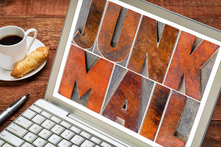 wood type: junk mail - text in letterpress wood type blocks on a laptop screen