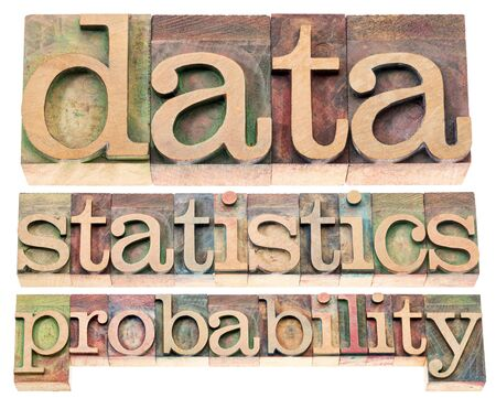 probability: data, statistics and probability - isolated words in letterpress wood type blocks