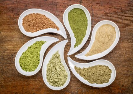 maca: nutirtion supplement abstract - a top view of teardrop shaped bowls of various powders - cacao, wheatgrass, maca root, hemp protein, kelp, moringa leaf Stock Photo