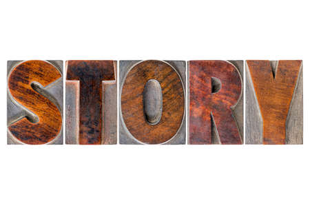 narration: story word - isolated text in vintage letterpress wood type printing blocks Stock Photo