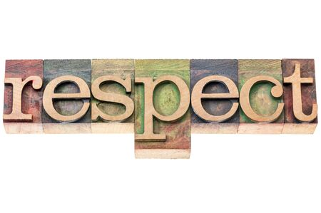 respecting: respect word typography - isolated text in letterpress wood type blocks