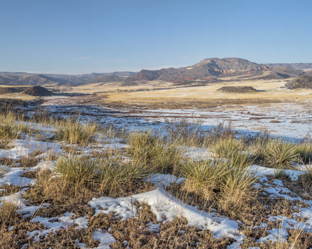red mountain open space: mountain valley at Colorado foothills - Red Mountain Open Space near Fort Collins, winter scenery Stock Photo