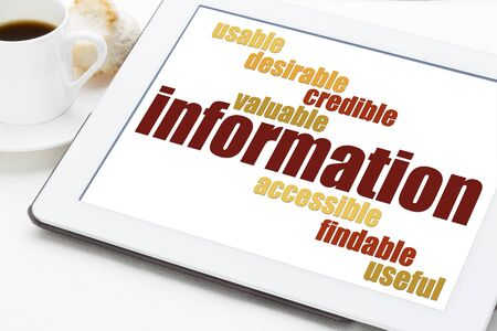 important information: user experience concept - attributes of information important for usability and user experience on a digital tablet Stock Photo