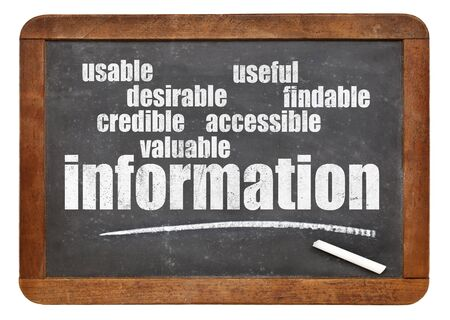 user experience concept - attributes of information important for usability and user experience on a blackboard Stok Fotoğraf