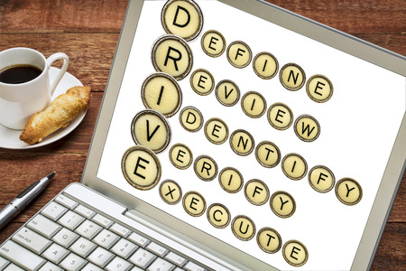 define: Define, Review, Identify, Verify, Execute - quality control concept - DRIVE acronym in vintage typewriter keys on a laptop screen with a cup of coffee