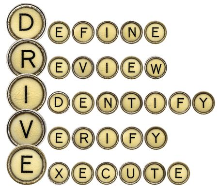 define: Define, Review, Identify, Verify, Execute - DRIVE quality control acronym in vintage typewriter keys