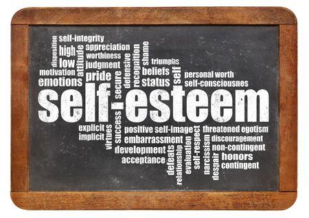 self worth: self-esteem word cloud on isolated vintage blackboard