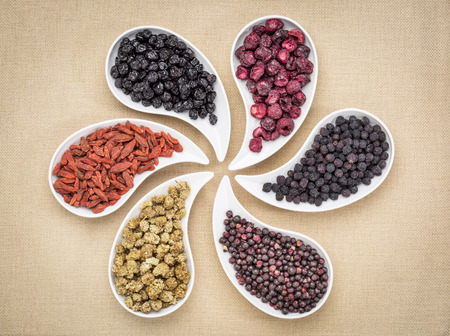 teardrop: dried superfruit collection - goji berry, white mulberry, blueberry, aronia, elderberry and cheery in teardrop shaped bowls Stock Photo