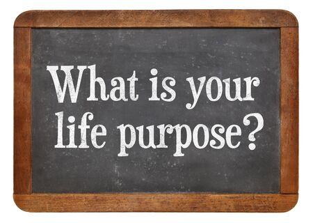 proposito: ¿Cuál es su propósito en la vida? Una pregunta en una pizarra pizarra de la vendimia. Foto de archivo