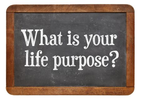 What is your life purpose ? A question on a vintage slate blackboard.