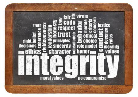 sincerity: integrity word cloud on a vintage slate blackboard Stock Photo