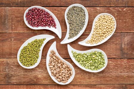 variety of beans, lentils, soy and pea in teardrop shaped bowls against rustic wood photo