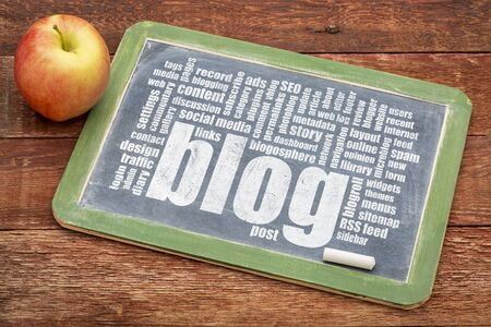 photoblog: internet concept - blog word cloud on a slate blackboard with a chalk and apple Stock Photo