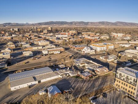 collins: FORT COLLINS, CO, USA - MARCH 21, 2015: Aerial view of Fort Collins downtown,  early spring scenery with morning light Editorial