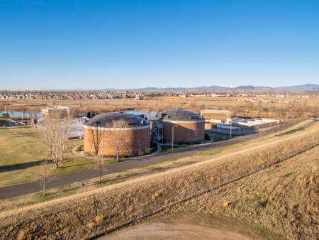 reclamation: FORT COLLINS, CO, USA - MARCH 28, 2015: Aerial view of biotowers in Drake Water Reclamation Facility, one of city waste water treatment plants, Editorial