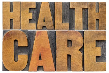 letterpress: healthcare word abstract - isolated text in letterpress wood type