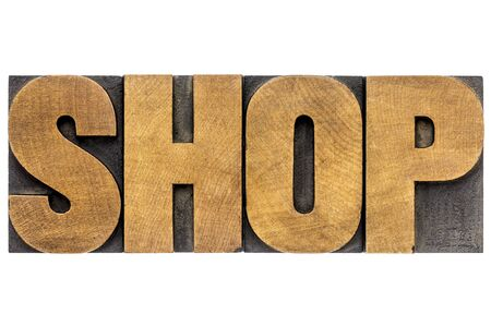shop word - isolated text in letterpress wood type