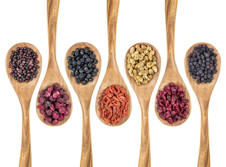 goji berry: healthy dried berry collection (blueberry, mulberry, cherry, goji, elderberry, chokeberry, cranberry) on isolated wooden spoons, top view
