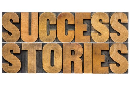 testimony: success stories word abstract in vintage letterpress wood type