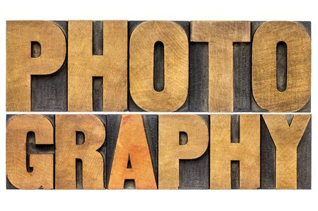 letterpress words: photography word -  isolated text in letterpress wood type