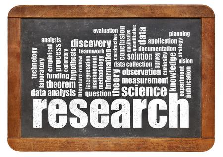 hipótesis: investigación de nube de palabras en una pizarra aislada - concepto de ciencia