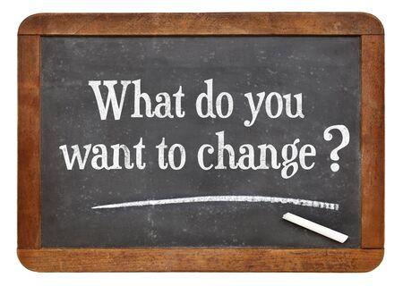 Que quieres cambiar? Una pregunta sobre una pizarra pizarra de la vendimia. Foto de archivo - 38410937