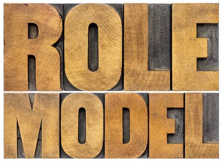 model: role model -  leadership concept - isolated word abstract in letterpress  wood type