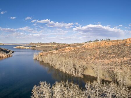 horsetooth reservoir: aerial view of Horsetooth Reservoir near Fort Collins Colorado, in early spring with high water level