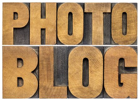 photoblog typography - isolated word abstract in letterpress wood type