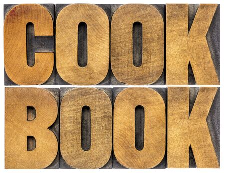instruct: cookbook word abstract  - isolated text in letterpress wood type Stock Photo