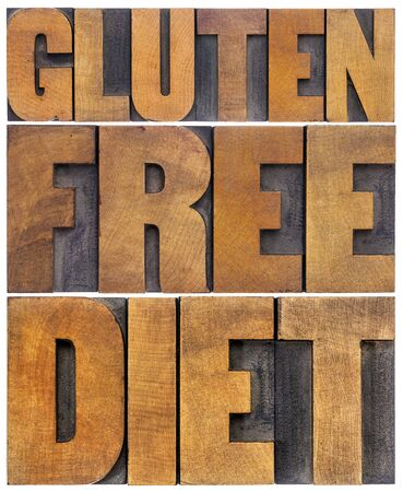 wood type: gluten free diet word abstract - isolated text in letterpress wood type Stock Photo