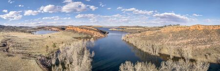 horsetooth reservoir: aerial panorama of Horsetooth Reservoir near Fort Collins, Colorado, early spring scenery with high water level