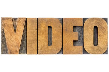 wood type: video word - isolated text in letterpress wood type