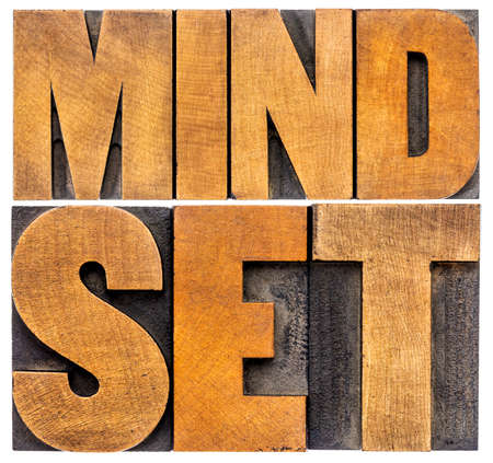 mindset word abstract typography - -isolated text in letterpress wood type
