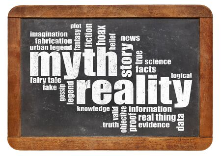 myth and reality word cloud on an isolated vintage slate blackboard 版權商用圖片