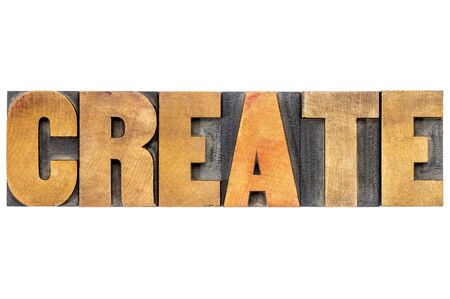 letterpress: create word typography  - isolated text in letterpress wood type
