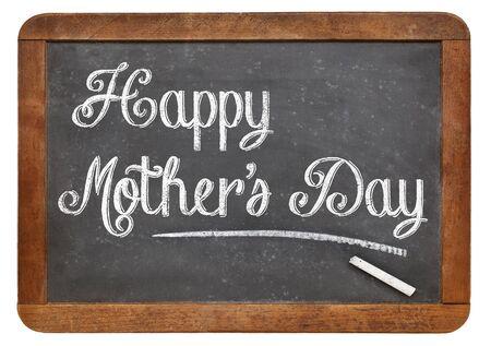 Happy Mothers Day in white chalk on a vintage slate blackboard