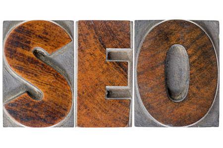 search engine optimization (SEO) - isolated text in vintage letterpress wood type