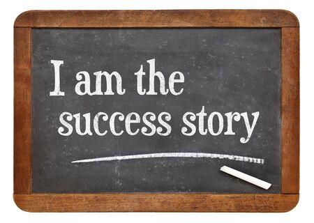 affirmation: I am the success story - positive affirmation words on a vintage slate blackboard Stock Photo