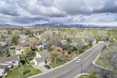 front range: FORT COLLINS, CO, USA - APRIL 18, 2015: Aerial view of Fort Collins, a typical residential neighborhood along Front Range of Rocky Mountains in Colorado,  early spring Editorial