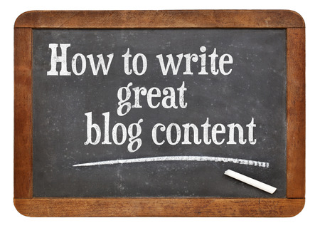 content writing: How to write great blog content - tutorial headline on a vintage slate blackboard
