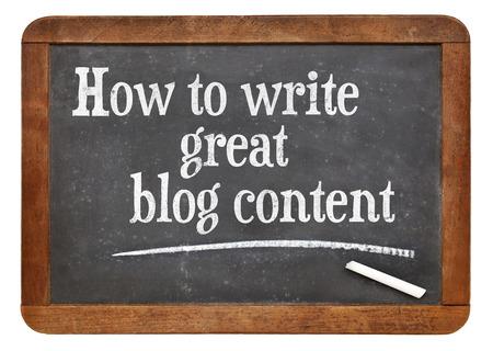 tutorial: How to write great blog content - tutorial headline on a vintage slate blackboard