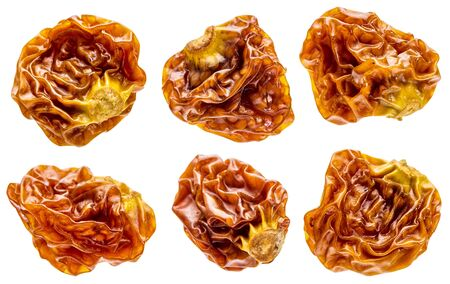 superfruit: goldenberry superfruit from Peru - a set of six dried berries isolated with clipping paths