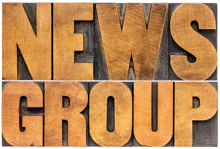 newsgroup word typography - isolated word abstract in letterpress wood type