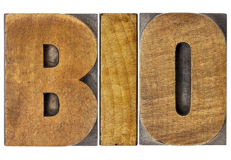 biography: bio shortening for biology or biography - isolated word in letterpress wood type