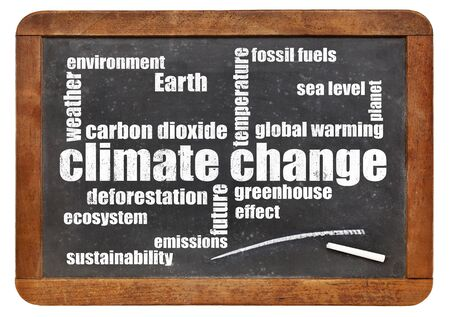carbon emission: climate change word cloud on a vintage slate blackboard isolated  on white