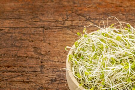broccoli and clover sprouts in a wooden bowl against rustic scratched wood with a copy space