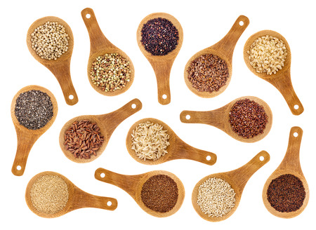 healthy grains: a variety of gluten free grains Stock Photo