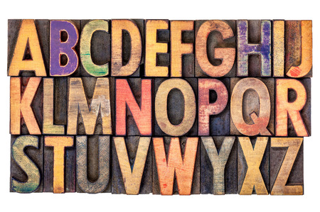 wood type: alphabet abstract in vintage letterpress wood type printing blocks, isolated on white