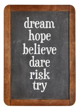 osare: sogno, la speranza, credo, osare, provare il rischio - un insieme di parole motivazionali N su lavagna in ardesia d'epoca